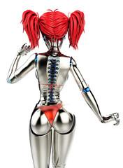 cyborg bikini girl back view