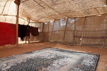 Interior of a traditional bedouin tent in Abu Dhabi, UAE
