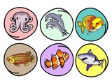 A Set of Aquatic Animal on Round Background poster
