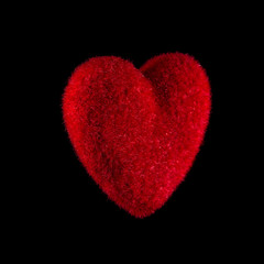Red heart on a black background