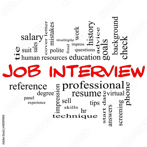 Job Interview Word Cloud Concept in Red Caps