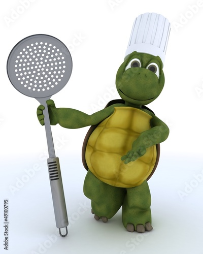 tortoise chef with straining spoon
