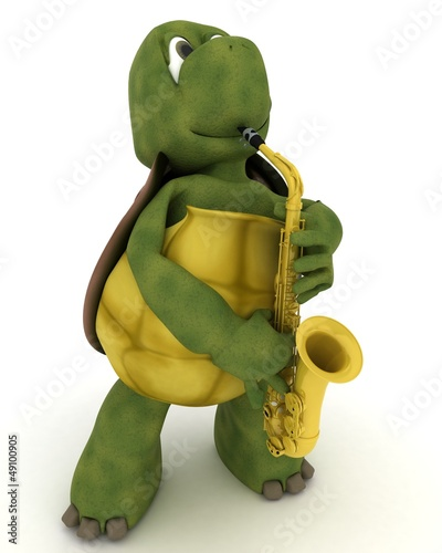 tortoise playing the saxophone