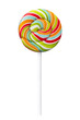 Colorful Spiral lollipop candy on stick, Realistic photo image