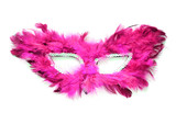 Fancy pink mask with feathers on white background