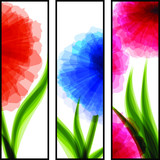 Three vertical banners with transparent flowers
