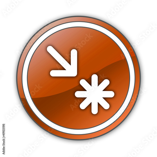 "Orange Glossy Button ""Point Of Interest"""
