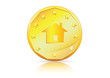Home Symbol on a gold coin-Mortgage, Home Loan etc