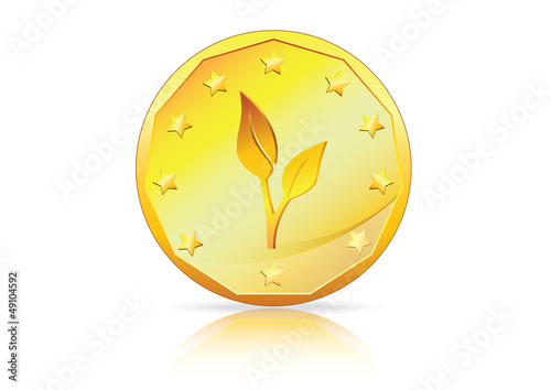 Green Economy � A Plant on Gold Coin