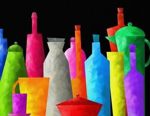 bottiglie colorate su sfondo nero
