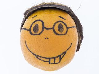 Orange mit einem Lächeln - gute Laune, Spass und Freude