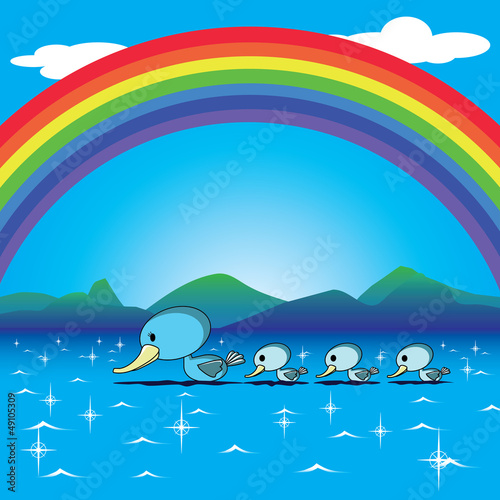 Poster Rivier, meer ducks and rainbow in the lake vector for a happy card
