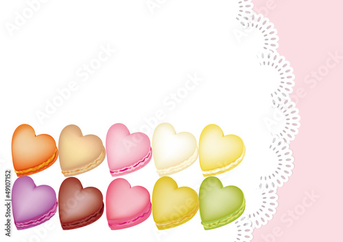 Colorful Macarons Shape Of Heart