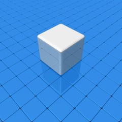 Gray cube on a smooth blue surface