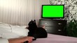 Woman watches green screened TV