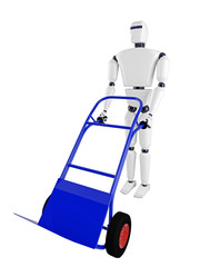 The robot and the blue pushcart