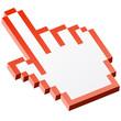 3D Pixelgrafik Hand - Zeigefinger rot