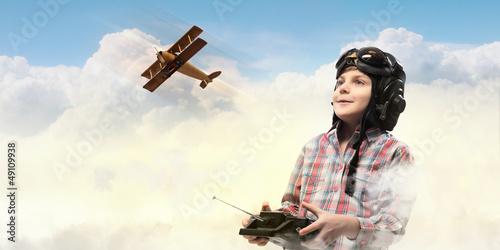 Little boy in pilot's hat - 49109938
