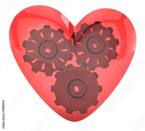 transparent heart and gears