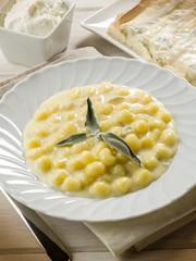 homemade gnoochi with gorgonzola