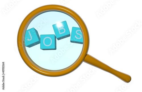 Concept job search: magnifying glass on blue