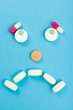 Sad smileyface made of pills