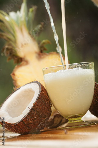 Pinacolada cocktail from coconut and pineapple