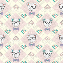 Seamless pattern with hipster polar bear and hearts. Cute backgr