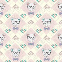 Nahtlose Muster mit hipster Eisbär und Herzen. Nette backgr