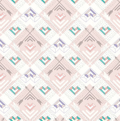 Abstract geometric seamless pattern. Aztec style pattern with he