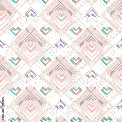 Abstract geometric seamless pattern. Aztec style pattern with he - 49112173