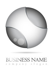 Business logo 3D glossy metal design