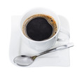 Cup of fresh black coffee isolated over white