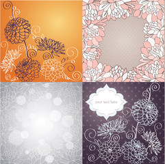 Vector set of card designs with ornamental dahlia flowers.