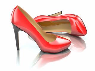 Red high heels shoe. 3d