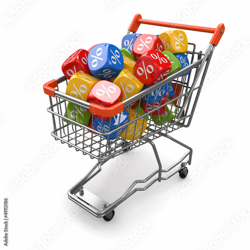 Discounts. Shopping cart and cubes with percent