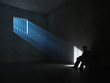 Inside a dark prison cell