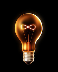 Lightbulb with a filament shaped like a infinity symbol