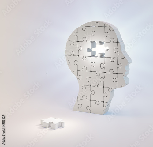 A head build out of puzzle pieces missing a single piece