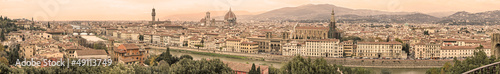 Florence aerial cityscape. Panoramic view. Sepia toned.