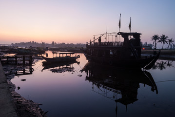 The harbor of Hoi An before sunrise