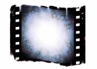 Old blank film strip with stars texture isolated