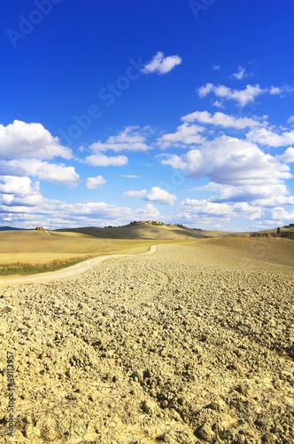 Tuscany, Crete Senesi farmland country landscape, Italy.