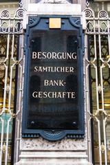 Schild Beratung Bankgeschäfte