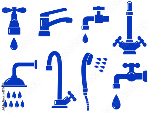 water set with isolated faucet icon