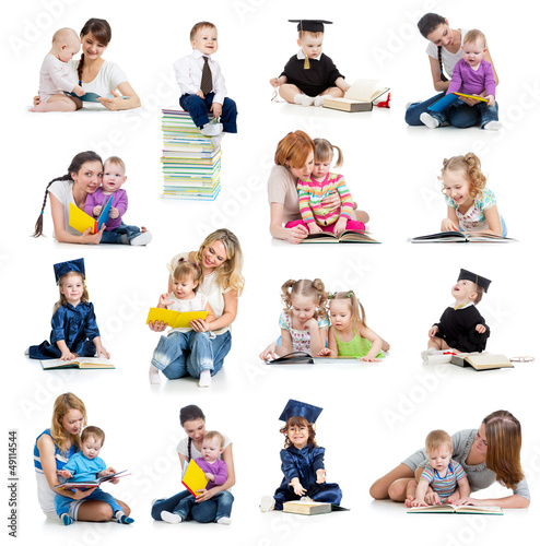 Collection of babies or kids reading a book. Concept of educatio