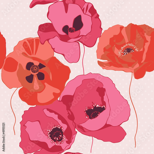 Decorative background with poppies flower. Seamless pattern.