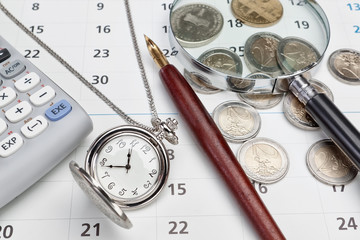 Office supplies and pocket watches.