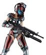 mercenary girl pointing down