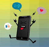 Happy Cute Smart Phone Character 4
